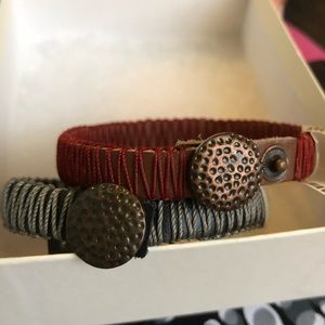 NWT Coldwater Creek Stitched Leather Bracelets Set